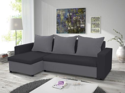 Раскладной диван-кровать с двумя ящиками для хранения - Turin. Угол слева. Светло-серая и тёмно-серая ткани