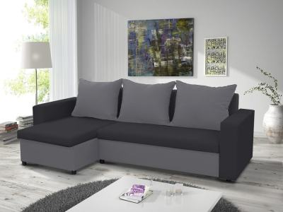 Chaise Longue Sofa Bed with 2 Storage Compartments - Turin. Left corner, Light Grey and Dark Grey Fabrics