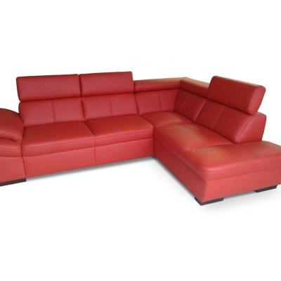 Sofá de piel auténtica de color rojo. Esquina al lado derecho - Verona