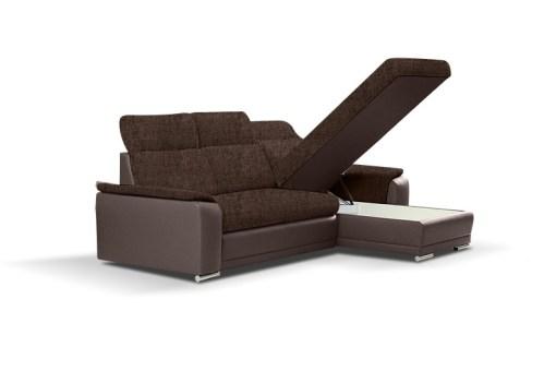Arcón debajo de la chaise longue. Sofá chaise longue reversible con cama - Vancouver