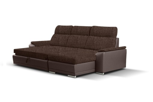 Unfolded Into Bed. Fabric and Faux Leather Chaise Longue Sofa with Pull-out Bed – Vancouver