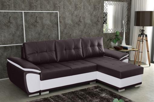 Sofá chaise longue cama en polipiel marrón y blanca - Kingston. Chaise longue lado derecho