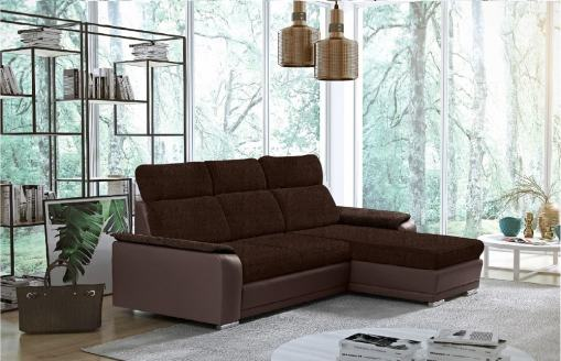 Brown Fabric and Brown Faux Leather Chaise Longue Sofa with Pull-out Bed – Vancouver. Right Corner