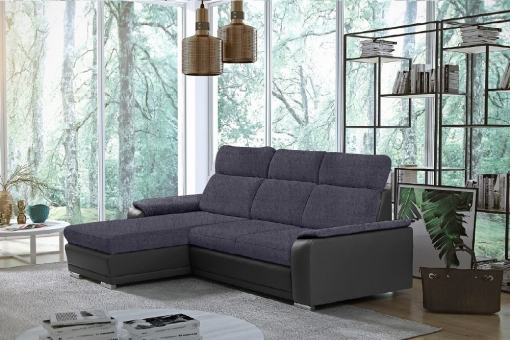Dark Grey Fabric and Grey Faux Leather Chaise Longue Sofa with Pull-out Bed – Vancouver. Left Corner