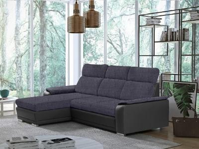 Угловой диван-кровать с регулируемыми подголовниками - Vancouver. Тёмно-серая ткань (Inari 94), серый кожзаменитель (Soft 29). Левый угол