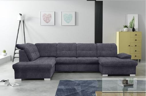 U-shaped Sofa with Pull-out Bed and Reclining Headrests - Toronto. Left corner, dark grey fabric (Inari 94)