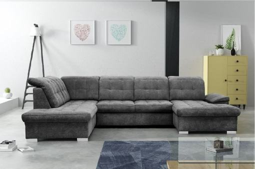 U-shaped Sofa with Pull-out Bed and Reclining Headrests - Toronto. Left Corner. Grey soft to touch fabric Alfa 19