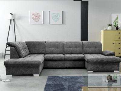 Sofá en forma de U con reposacabezas reclinables - Toronto. Esquina al lado izqueirdo. Tela Alfa 19