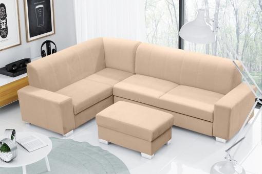 Sofá cama rinconera 4 plazas con puf. Color Beige. Esquina izquierda - Sardinia