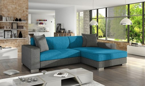 Chaise Longue Sofa Bed with Storage - Maldives. Blue and Grey Fabrics. Right Corner