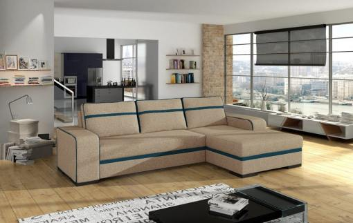 Chaise Longue Sofa Bed with Storage - Bermuda. Sand Colour Fabric with Blue Stripes. Left Corner