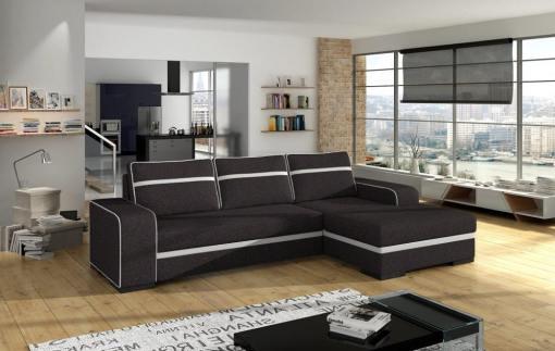 Sofá chaise longue cama (derecha) con arcón - Bermuda. Color gris oscuro
