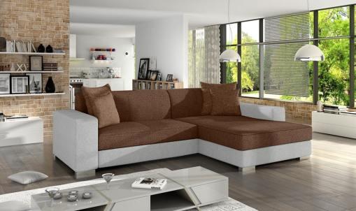 Sofá chaise longue cama (derecha). Tapizado en tela marrón y polipiel blanco - Maldives