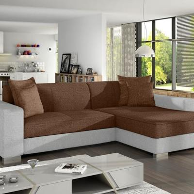 Chaise Longue Sofa Bed with Storage - Maldives. Brown Fabric and White Faux Leather. Right Corner