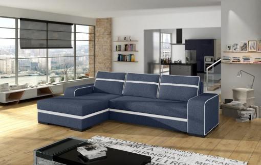 Угловой диван-кровать с отделением для хранения - Bermuda. Тёмно-серая ткань с белыми линиями. Левый угол