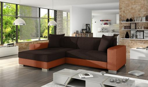 Chaise Longue Sofa Bed with Storage - Maldives. Dark Brown Fabric and Light Brown Faux Leather. Left Corner