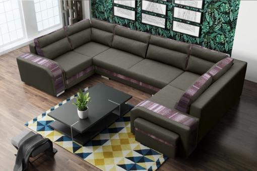 Sofá grande en forma de U (2 esquinas) - Baia. Color marrón, ornamento étnico. Esquina derecha