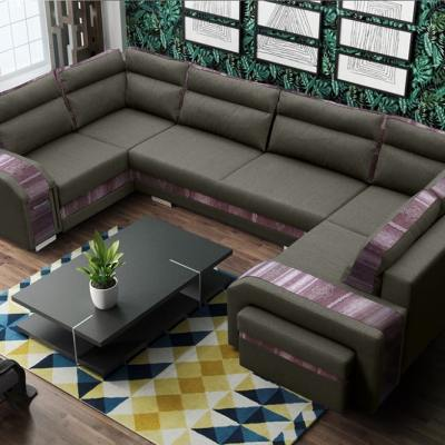 "Spacious U-shaped Sofa Bed with 3 Storages - Baia. Brown and ""Ethno"" Fabrics. Right Corner"