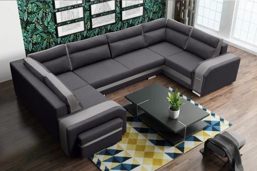 Sofá grande en forma de U (2 esquinas) - Baia. Colores gris y beige. Esquina izquierda