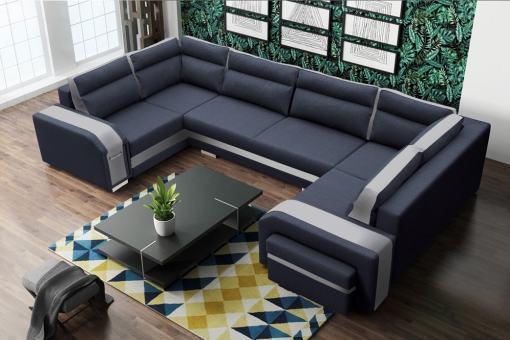 Sofá grande en forma de U (2 esquinas). Colores Gris y Blanco - Baia