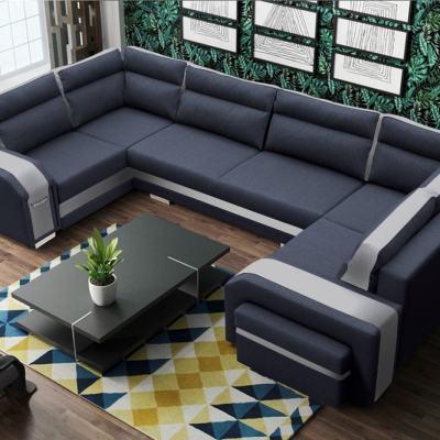 Большой П-образный диван Baia. Правый угол. Серая и белая ткани