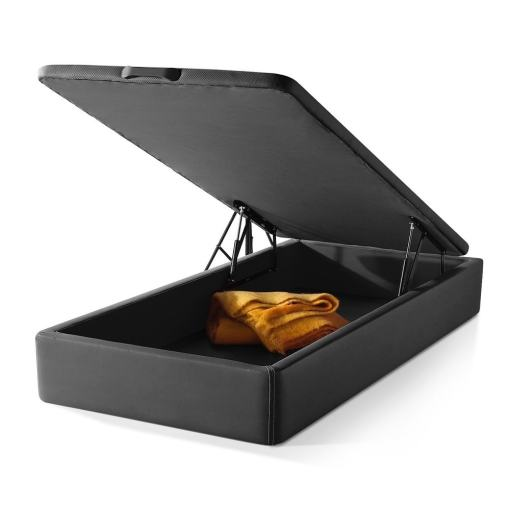 Lift-Up Storage Bed 105 x 190 cm. Upholstered in Black Faux Leather. Basel