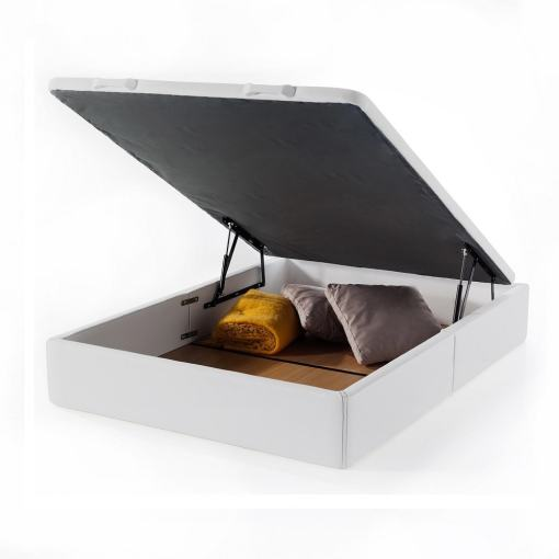 Double Lift-Up Storage Bed 135 x 190 cm. Upholstered in White Faux Leather. Basel