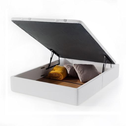 Canapé abatible 135 x 190 cm (doble). Color blanco. Tapizado en polipiel - Basel