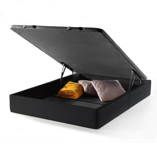 Canapé abatible 150 x 190 cm (de matrimonio). Color negro. Tapizado en polipiel - Basel