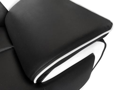 Reposabrazo. Conjunto de sofás en piel sintética 3 plazas más 2 plazas - Naples. Colores blanco y negro