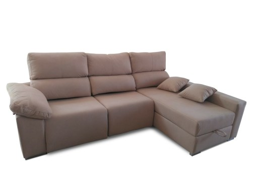 Electric Recliner Sofa - Valencia. Beige Stain-resistant Fabric. Right Corner