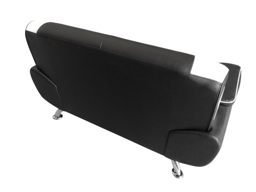 Outer Backrest Upholstered in Faux Leather to Put it in the Salon Center. Sofa Set in Black and White Faux Leather 3 Seater and 2 Seater - Naples