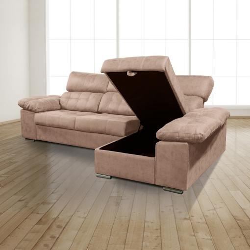 Arcón abierto. Chaiselongue derecha. Sofá chaiselongue con asientos extraíbles, arcón y reposacabezas reclinables, color marrón (piedra) - Granada