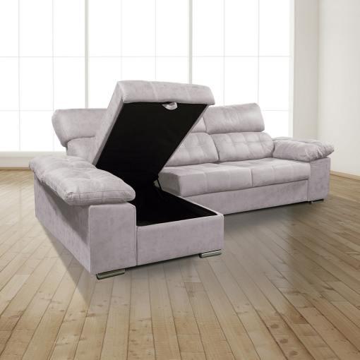 Arcón abierto. Chaiselongue izquierda. Sofá chaiselongue con asientos extraíbles, arcón y reposacabezas reclinables, color gris (cemento) - Granada