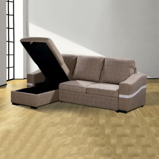 Arcón abierto. Sofá chaise longue convertible en cama. Tela marrón (chocolate). Chaise longue lado izquierdo - Santander