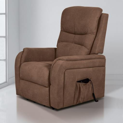 Кресло реклайнер с пультом и функцией подъема - Caudete. Коричневая ткань