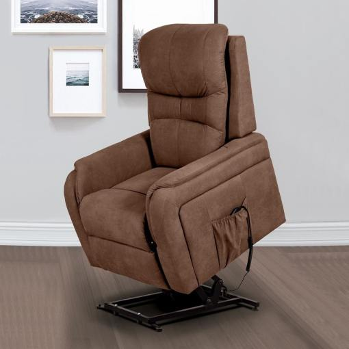 Power Lifting and Reclining Armchair - Caudete. Brown Fabric