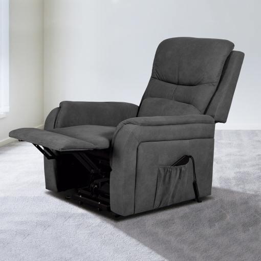 Поднимающаяся подставка для ног и опускающаяся спинка. Кресло реклайнер с функцией подъема - Caudete. Серая ткань