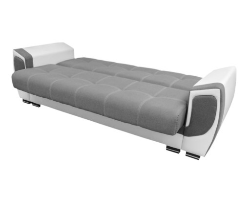 Unfolded Into Bed. Sofa Bed Upholstered in Fabric and Synthetic Leather - Tarancón