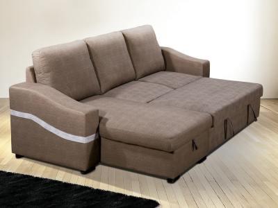 Cama abierta. Sofá chaise longue convertible en cama. Tela marrón (chocolate). Chaise longue lado izquierdo - Santander