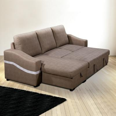 "Converted Into Bed. Convertible Chaise Longue Sofa Bed with Storage - Santander. Brown (""Chocolate"") Fabric, Left Corner"