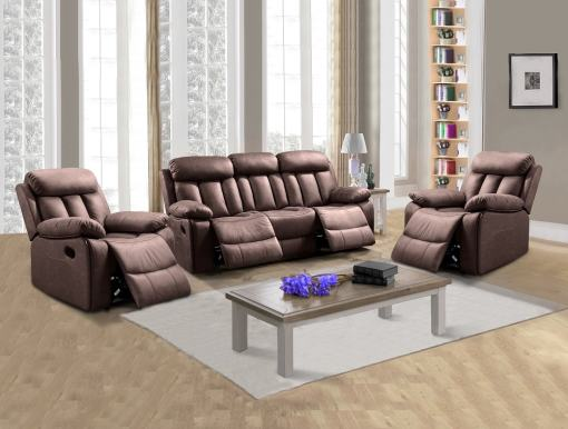 Living Room Set 3+1+1: Three-seater Recliner and Two Armchairs - Barcelona. Brown (Chocolate) Fabric
