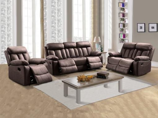Conjunto 3+2+1 de dos sofás y un sillón relax. Tela antimancha marrón - Barcelona