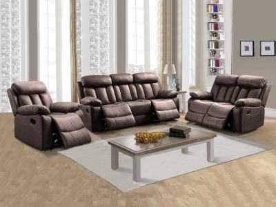 Living Room Set 3+2+1: Two-seater Recliner, Three-seater Recliner and Armchair - Barcelona. Brown Fabric