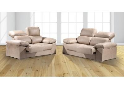 Beige Fabric. Sofa Set 3+2 With Sliding Seats and Reclining Backrests - Toledo