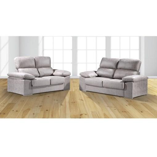 Conjunto de sofás 3+2, asientos deslizantes, respaldos reclinables. Color gris claro (cemento) - Toledo