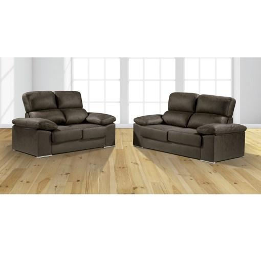 Conjunto de sofás 3+2, asientos deslizantes, respaldos reclinables. Color gris oscuro (plomo) - Toledo