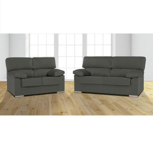 Conjunto de sofás 3+2 en tela microfibra Melissa. Color gris (marengo) -Salamanca