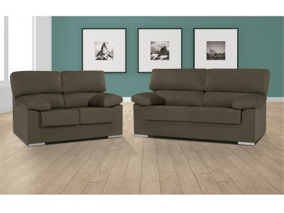 Brown (Truffle) Melissa Fabric. Sofa Set - 3 Seater and 2 Seater in Synthetic Fabric - Salamanca