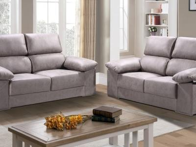 Grey Fabric. Living Room Set 3+2 in Stain Resistant Microfiber Fabric - Bilbao